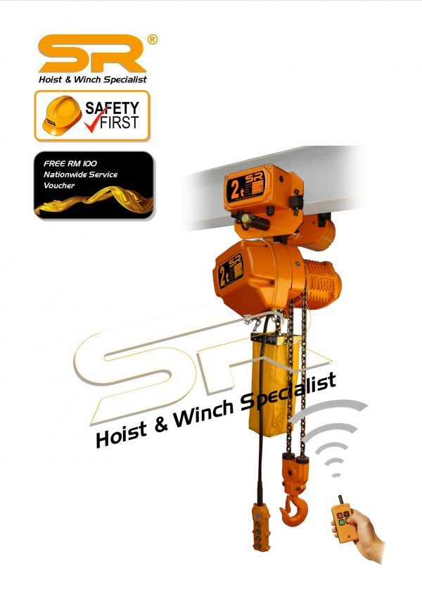 Single Speed 2 Ton Chain Hoist with Motorized Trolley & Remote Control (10mtrs)