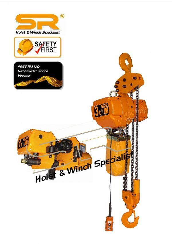 Single Speed 3 Ton Chain Hoist With Motorized Trolley (5m)