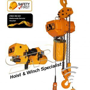 Single Speed 3 Ton Chain Hoist with Motorized Trolley & Remote Control (5mtrs)