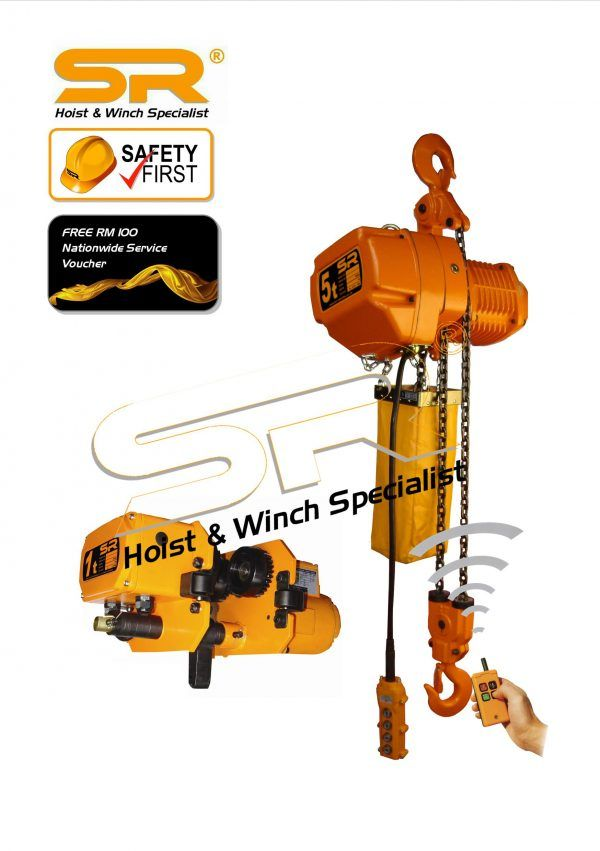 Single Speed 5 Ton Chain Hoist with Motorized Trolley & Remote Control (5mtrs)